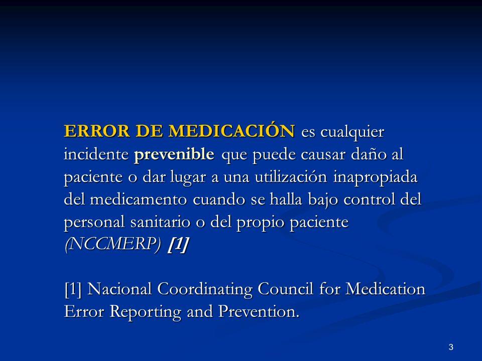 ERROR DE MEDICACIÓN es cualquier incidente prevenible que puede causar daño al paciente o dar lugar a una utilización inapropiada del medicamento cuando se halla bajo control del personal sanitario o del propio paciente (NCCMERP) [1]